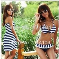 Hot sales!!! Free shipping for women 2013 Bikini Set Push Up swimsuit Sexy Navy Stripe Bikini dress