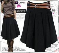 New Arrival Black Gray Color Irregular Pleated Skirt 2014 Fashion Overknee Long Skirts Women's Saias Femininas