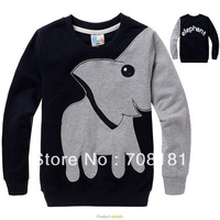 Free Shipping hot sale Kids boys elephant printed / embroidered cotton long sleeve T-shirt kids outerwear children clothing