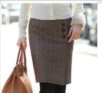 New Arrival Coffee Color Button Striped Bust Skirt Winter Women Fashion High Waist Straight Skirts For Girl Saias Femininas 2014