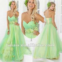 Vnaix P0065 Sweetheart Lace Up Organza Green Dresses Prom