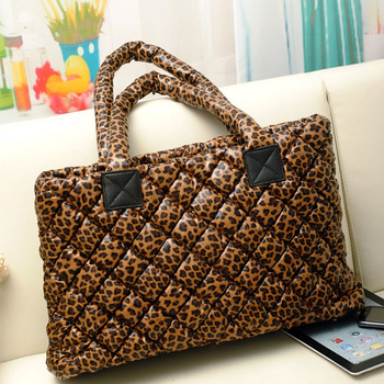 2012 autumn and winter fashion fashion leopard print space cotton one shoulder women's handbag down coat bag cotton-padded