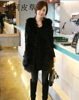 2013 new winter fur waistcoats women's Long design raccoon fur coat racoon fur vest Free shiping EMS TF0281