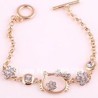 Gold plated Crystal bracelet, hello kitty bracelet, nice bracelet 2013 style. free shipping.