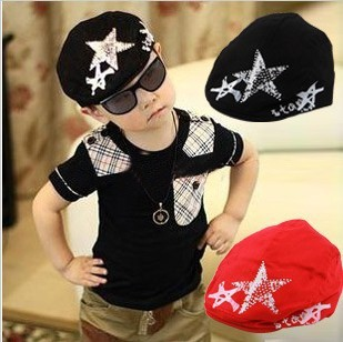 Korean Baby Lovely Fashion Adjustable black and red Children Beret diamond five star bonnet hat cap Drop Shipping