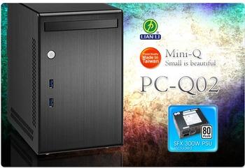 Pc-q02 aluminum mini itx computer case usb3.0 belt 300w 80plus bag