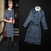 brand 2013 spring and summer women's fashion vintage white turn-down collar print long-sleeve slim one-piece dress