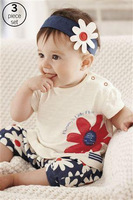 2013 New Summer flower headwear 3-pcs baby kids clothes suit(hair band+t shirt+pants),5 set/lot,Free Shipping