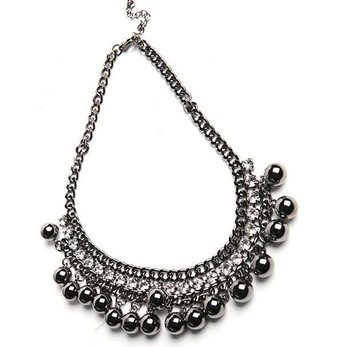 (Min order is $10) Fashion e4252 queer accessories black charm quality sphere rhinestone necklace
