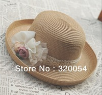Free shipping,1pcs,South Korean women's straw hat, lace flower beach caps,sun hat, khaki, beige, wholesale.