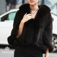 Genuine  Mink Knitted Fur Shawl/Wrap/Cape with Fox fur collar women's mink fur coat Free shipping EMS TF0137