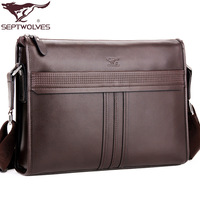 SEPTWOLVES man shoulder messenger leather bags fashion vintage business bag