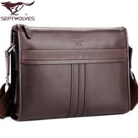 SEPTWOLVES man shoulder messenger leather bags fashion vintage business bag