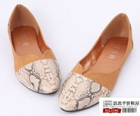 New arrival fashion serpentine pattern patchwork pointed toe flat-bottomed single shoes plus size shoes