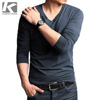 Male male T-shirt long-sleeve casual t-shirt slim V-neck men's clothing long-sleeve basic shirt male