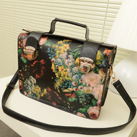 2013 women's handbag, small fresh fashion vintage preppy style oil painting flower one shoulder cross-body bag motorcycle