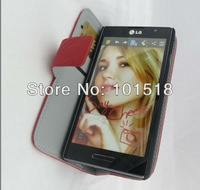 Free shipping&10pcs/Lot New Carbon style  leather case for  LG Optimus L9 P760  ,inner standing