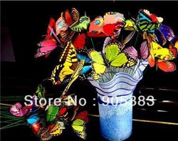 20pc Cute Artificial Butterfly with a wire Wedding Cake Topper Favor!8.5cm!-wholesale(China (Mainland))