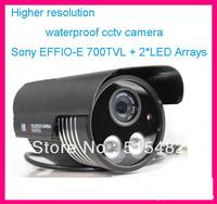 "1/3"" Sony EFFIO-E 700TVL 2*LED Arrays with OSD Menu outdoor/indoor waterproof cctv camera .Free shipping"