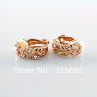 Italina wheat no pierced ear clip female Austrian crystal stud earrings 18K gold plated fashion jewelry  kedol-E35