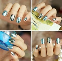 Metal texture Golden bottom cyan grid Nail patch 24pcs False Nail  free shipping wholesale