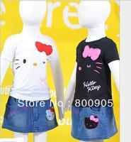 hello kitty children T-shirt +skirt kids clothing girls jeans skirt smiling face 2 pcs suit