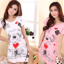 Free shipping Sweet breathable casual 100% cotton sleepwear nightgown lounge t-shirt dress love bear long nightgown carrie pure(China (Mainland))
