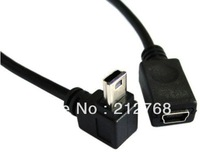 GPS Mini USB 5P 90D down direction angled male to Female extension cable 50cm