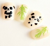 2013 hot new fashion charm women nail decoration Cute panda false nail tips Short paragraph bamboo nails patch free shipping