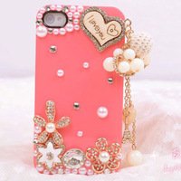 Free Shipping New for iphone4 4s phone shell pearl rhinestones slim and stylish, cute