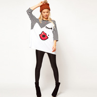 Free shipping 2013 spring Lovely red lips print loose T-shirt/top/tee novelty/comfortable &fashion stripes design T-shirt