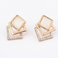 Min. order is $10(mix)  696 magic square crystal jade earring fashion earrings wholesale jewelry 2013