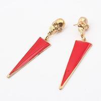 exaggerated enamel metal skull triangle earring fashion jewelry wholesale earrings 2013