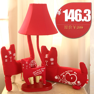 Cottage cartoon wedding gift table lamp red bedroom lights bed-lighting