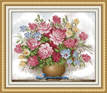 12 print cross stitch pink rose j2058