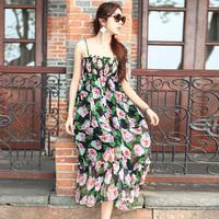 Summer high waist one-piece dress bohemia beach  full dress suspender  free shipping