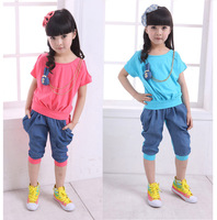 free shipping 5sets/lot new arrival 2013 children's summer sets casual solid t shirt + pants for girls 2pcs kids clothing suits