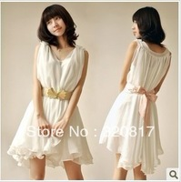 Free Shipping 2013 New Spring Women's Fashion Solid Sleeveless V-Collar Ruffles Cute Chiffon Dress With Underskirt and Ribbon