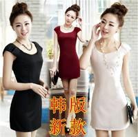 2014 spring dress women's summer o-neck slim fashion sexy basic dress