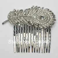 Wholesale Clear Crystal Rhinestone Fashion Peacock Feathers hair Combs Wedding hair Accessories L041 A