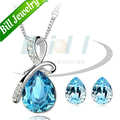 Free Shipping Wholesale Women Oceanblue Tear Drop Crystal Necklace Set Fashion Female Pendant Earrings Jewelry Sets