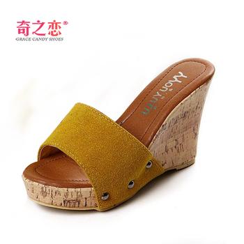 Hot!!! 2013 spring and summer sweet gentlewomen brief casual scrub platform wedges high-heeled female slippers