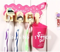 Free shipping DIY toothbrush rack set with 3 toothbrush hooks+1 toothbrush cup as bathroom products as traveling accessory.