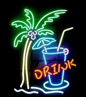 Drink Palm Tree Handcrafted Glass Tube Neon Light Sign free shipping 17*13