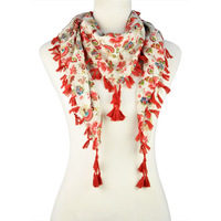 Happy chinese Floral printing scaf with tassel NL-1867 fashion Scarf 2013 Wholesale Necklaces ,no shipping up $15