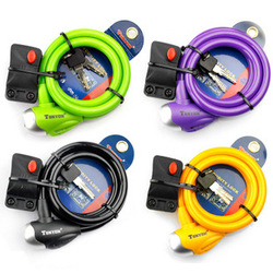 General ty561 multicolour lock bicycle steel wire lock cable lock key lock anti-theft lock Free Shipping(China (Mainland))