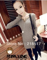 Free Shipping 2013 new spring and summer Women Casual Vintage fashion all-match decoration slim long design thread t-shirt D-147
