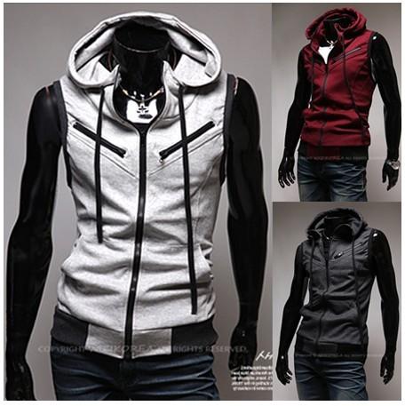 New Mens Vest Men Fashion Menautumn Men's Hoody Wine Red Zipper Preppy ...