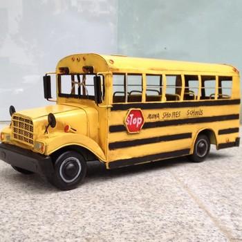 free shipping, Home metal classic cars model ldquo . long rdquo . school bus