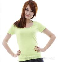 Women slim all-match 220 100% cotton slim waist big o-neck blank t-shirt solid color short-sleeve T-shirt fruit green